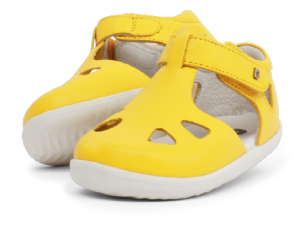 Bobux Toddler Zap Closed Leather Sandal (Yellow)